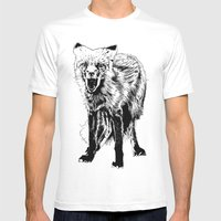 Angry Fox (b&w) Mens Fitted Tee White SMALL