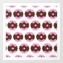 Chocolate Donuts Pattern Art Print