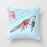 Throw Pillow featuring Bringing what I got [MOTH] [COLORS] [RAIN] [GIVEN] [GIVE] by David Nuh Omar