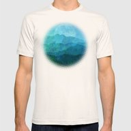 Blue Abstract Landscape Mens Fitted Tee Natural SMALL