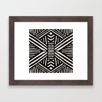 Black Aztec Tribal Geome… Framed Art Print