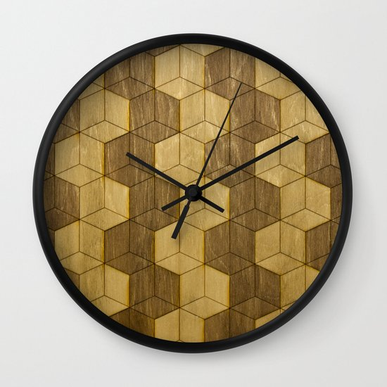 Wooden Zig Zag Optical Cubes Wall Clock