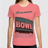 Let's Bowl! Womens Fitted Tee Pomegranate SMALL