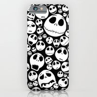 iPhone Cases featuring Halloween Jack Skellingtons emoticon face pattern by Greenlight8