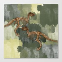 Dinosaur Skeleton And camouflage Watercolour All Over Print Canvas Print