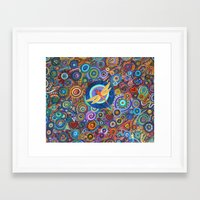 Dragonfly and circles Framed Art Print