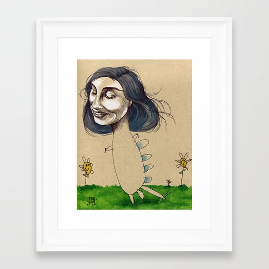 DINOSAUR GIRL Framed Art Print