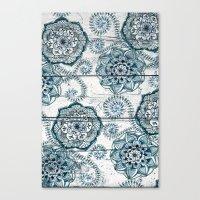 Navy Blue Floral Doodles… Canvas Print