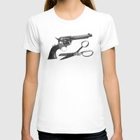 REVOLVING DOORS Womens Fitted Tee White SMALL