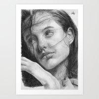 Angelina Jolie Traditional Portrait Print Art Print