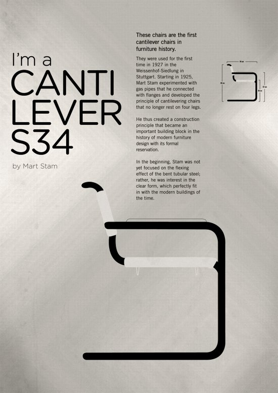 Chairs - A tribute to seats: I'm a Cantilever S34 (Poster) Art Print