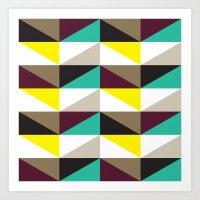 Yellow, purple, turquoise triangle pattern Art Print