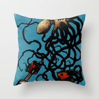 Oceanic Menace Throw Pillow