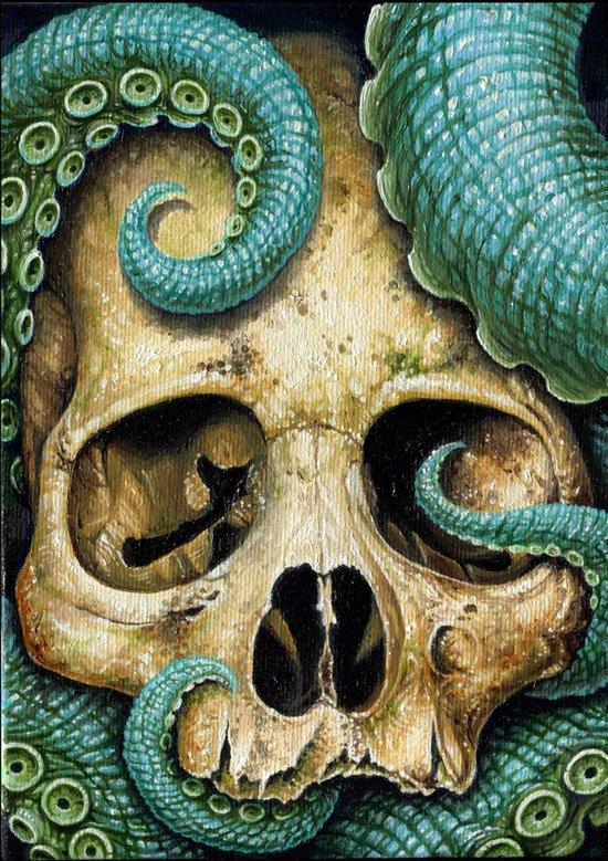Tentacle skull Art Print