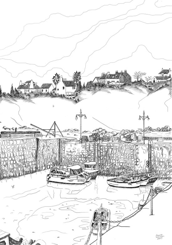 Harbour at Crail in Fife, Scotland Art Print
