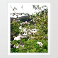 Behind the Flowers! Art Print