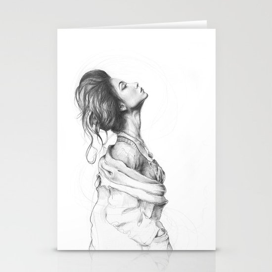 Pretty Lady Pencil Portrait Fashion Art Stationery Card
