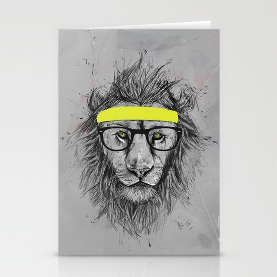 hipster lion Stationery Card