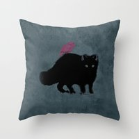 Cat and bird friends! Throw Pillow