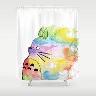 Shower Curtain featuring My Rainbow Totoro by Scoobtoobins