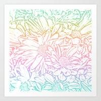 Daisy Daisy Pastel Rainbow Art Print
