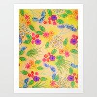 WILDFLOWER FANCY 1 - Cheerful Yellow Lovely Floral Garden Pattern Girly Feminine Trendy Flowers Art Print