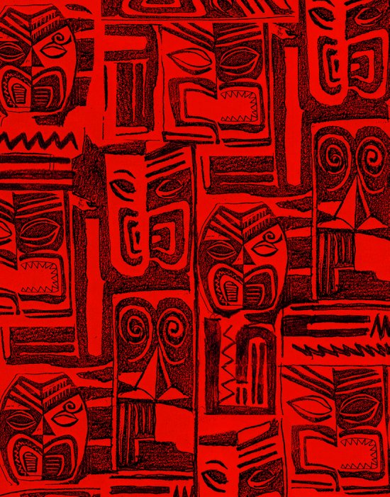 tribal in red and black Art Print