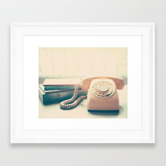 Pink Retro Telephone and Books, still life vintage  Framed Art Print