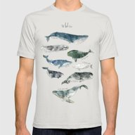 Whales Mens Fitted Tee Silver SMALL