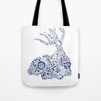 Folk Floral Indigo Deer Tote Bag