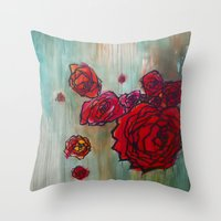 Rose Cluster in progress Throw Pillow