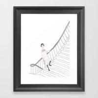 Girl On A Stair Framed Art Print