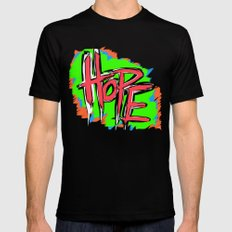 Hope (retro neon 80's style) SMALL Mens Fitted Tee Black