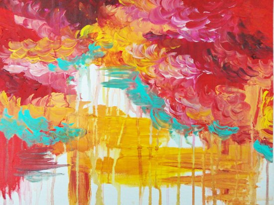 AUTUMN SKIES - Amazing Fall Colors Thunder Storm Rainy Sky Clouds Bold Colorful Abstract Painting Art Print