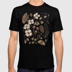Nature Walks (Light Background) SMALL Black Mens Fitted Tee