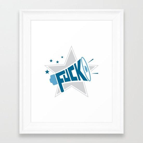 MegaFuck - blue Framed Art Print