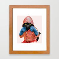 Boxing Cat 2  Framed Art Print