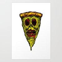 Pizza Face - Zombie Art Print