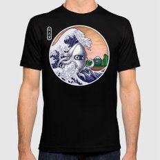 THE GREAT WAVE Black SMALL Mens Fitted Tee