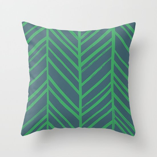 Painted Herringbone - in Emerald Throw Pillow