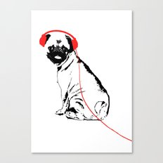 Pug Dog with earphones  Canvas Print