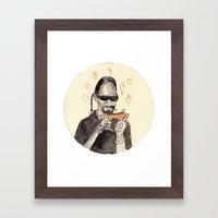 Snoop Dogg in love with a Hotdog Framed Art Print