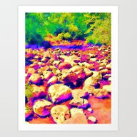 Colorful Rocky Riverbed Art Print