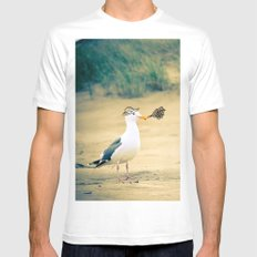 rebel gull. White SMALL Mens Fitted Tee