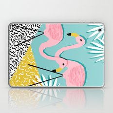 Bro - wacka design memphis throwback minimal retro hipster 1980s 80s neon pop art flamingo lawn Laptop & iPad Skin