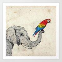 Elephant And Scarlet Mac… Art Print