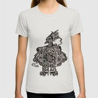 Robotic Bird Womens Fitted Tee Silver SMALL