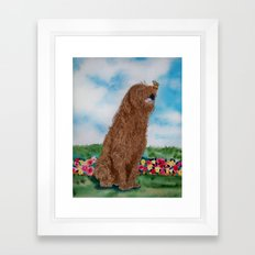 Chocolate Labradoodle and Butterfly Framed Art Print