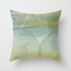 Delicate Painterly Leaves Throw Pillow