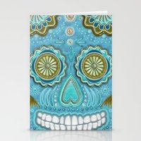 sugar skull Stationery Cards featuring sugar skull by Ancello